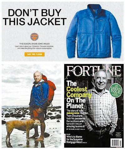 私たちの商品を買うなと強調する衣類ブランド「パタゴニア」の広告とパタゴニア創立者をカバーストーリーを掲載したフォーチュン誌。