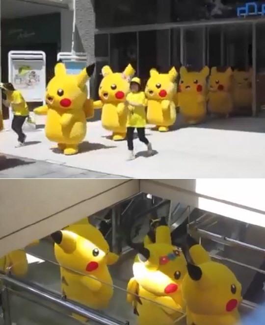 東大門に現れたピカチュウの群れ(写真=チャンネルA画面キャプチャー)