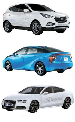 (上から)現代車の「ツーソンix」、トヨタの「ミライ(MIRAI)」、アウディの「A7スポーツバックh-トロン・クワトロ」