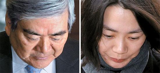 趙亮鎬(チョ・ヤンホ)大韓航空会長(左)と趙顕娥(チョ・ヒョンア)前大韓航空副社長(右)