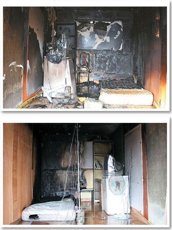 イ・ソンウン湖西(ホソ)大学教授チームが考試院(コシウォン、主に学生向けのワンルーム)の火災比較実験を行った。一方の部屋は防炎処理をせず(写真上)、もう一方の部屋は壁面合板(写真下)に防炎処理をした。10分間火をつけた。防炎処理をしなかった部屋は20秒後から火が壁をつたって65秒後には最高温度に達した。一方、防炎処理をした部屋は実験が終わるまで天井に火が広がらなかった。最高温度の到達時間も120秒かかった。(写真=イ・ソンウン教授提供)