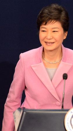 昨年1月6日の朴槿恵(パク・クネ)大統領の新年記者会見の様子。(写真=中央フォト)