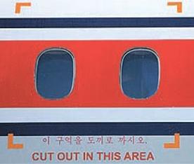 非常時に救助作業をするように表示された胴体の一部分。