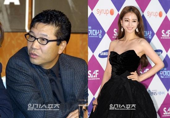 「SMエンターテインメント」のイ・スマン代表(左)、女優ハン・イェスル