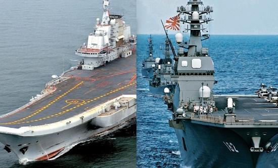中国の空母「遼寧」(左)、日本海上自衛隊の護衛艦「いせ」