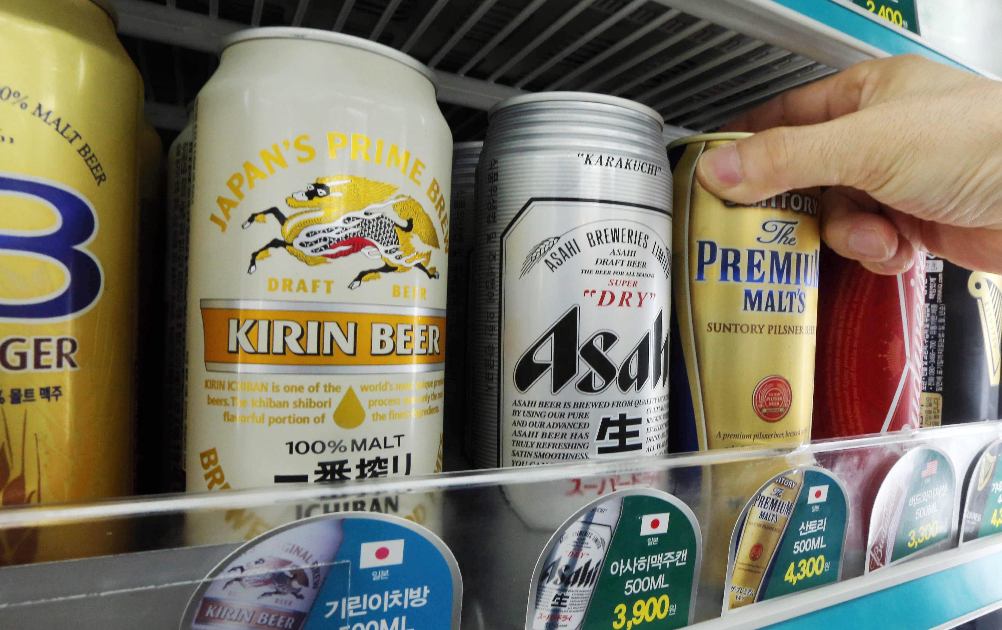 コンビニに陳列されている日本の輸入ビール(写真=中央フォト)