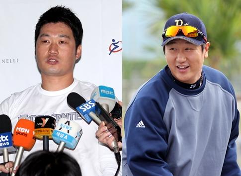阪神の呉昇桓(オ・スンファン、左)とソフトバンクの李大浩(イ・デホ、右)(写真=中央フォト)