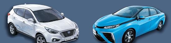 現代車の「ツーソンix」(左)とトヨタの「ミライ」