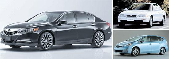 ホンダは生産が中断されていた大型セダン「レジェンド」(左)を3月から再販売する。レジェンドは1990年代に旧大宇自動車が「アルカディア」(右上)という名前で販売し、金大中元大統領が愛用した車でもある。トヨタもハイブリッドモデルの「プリウスV」を前面に出しシェア回復に乗り出す。(写真=ホンダコリア、韓国GM、韓国トヨタ)