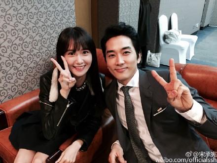 少女時代のユナ(左)と俳優ソン・スンホン(写真=ソン・スンホンの微博)