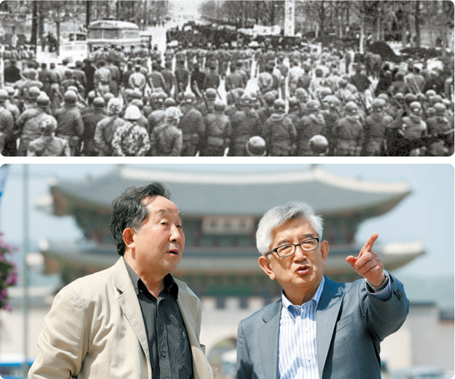 上の白黒写真は韓日協定反対デモ初期の1964年3月26日の中央庁前(現光化門広場)で軍警と対立する学生デモ隊。下は同じ場所で当時を回想する6・3事態の2人の主役金正男元主席秘書官(左)と崔章集名誉教授。