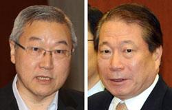 金星煥(キム・ソンファン)元外交部長官(左)、柳明桓(ユ・ミョンファン)元外交部長官(右)