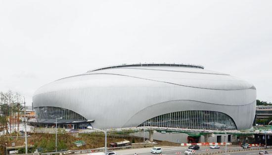 高尺ドーム外観。高尺ドームは当初、屋根を半分だけ覆うハーフドームで設計されたが、2009年3月ワールドベースボールクラシック(WBC)準優勝ブームにのって完全ドーム形態に変更された。