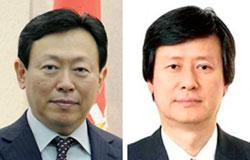 辛東彬(シン・ドンビン)会長(左)、辛東主(シン・ドンジュ)前副会長(右)