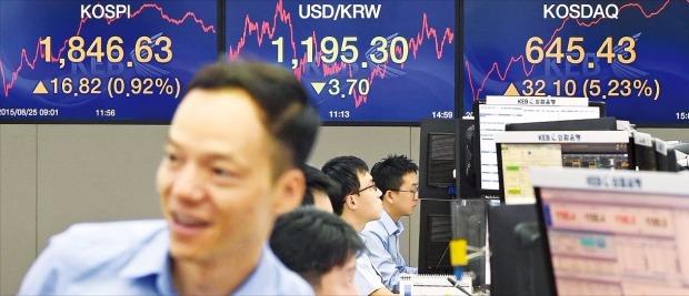 グローバル証券市場下落の中で韓国の株式市場が反騰に成功した25日ソウル中区(チュング)外換銀行本店ディーリングルームでディーラーたちが忙しく業務を見ている。
