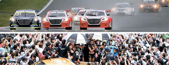 スーパーレースに出場したストックカーが30日、富士スピードウェイで開かれたスーパー6000クラスチャンピオンシップで疾走している。下はリュ・シウォンらのドライバーを見るために詰めかけたファン。(写真=スーパーレース)