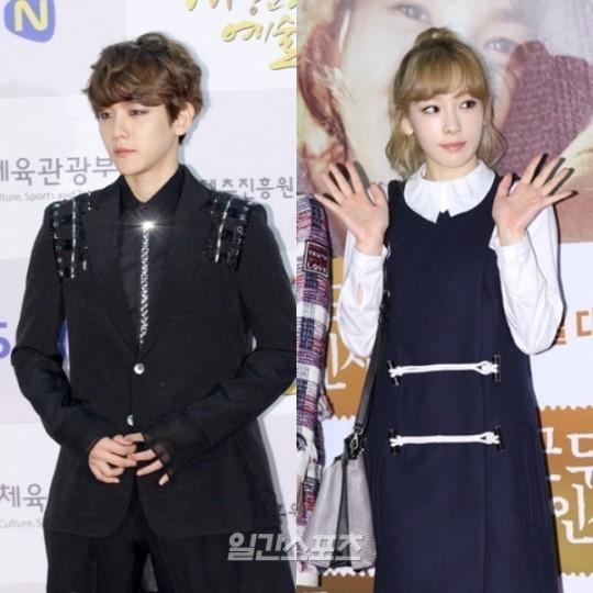 EXOのベッキョンと(左)少女時代のテヨン