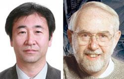 梶田隆章氏(写真左)とアーサー・マクドナルド氏。