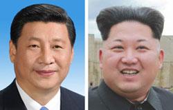 習近平国家主席(左)、金正恩(キム・ジョンウン)第1書記(右)