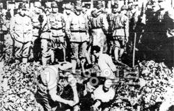 1937年の南京大虐殺の写真。旧日本軍が中国人を生き埋めしようとしている。(中央フォト)