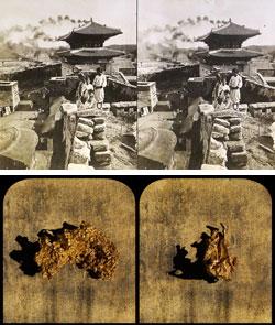 オーストラリア写真家ジョージ・ロスが1904年に撮影したソウル東大門の様子。下の写真はロスの故郷クルーンズから採掘された金で、ク・ボンチャンが今年撮影した。(写真=国際交流財団)