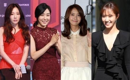 左から、少女時代のテヨン、ティファニー、ユナ、ユリ。