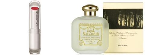 グローバルメーキャップブランドのシュウウエムラが世界市場に「江南オレンジ」という名で発売したリップスティック。(写真左)イタリアの高級ブランド「サンタ・マリア・ノヴェッラ」がソウルの夜明けをイメージにした香水「アルバ・ディ・ソウル」。