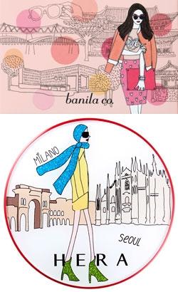 ソウルの風景を背景に洗練されたソウルの女性の姿を製品包装に描いた国内化粧品ブランドのバニラコ。(写真上)ソウル女性を代表する「ソウリスタ」が世界を旅行する姿が入ったHERAのミスト・クッションケース。