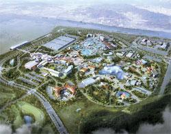 京畿道華城市の国際テーマパーク鳥瞰図。