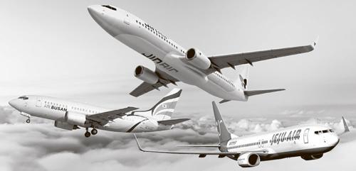 (左から)エアプサン、ジンエアー、済州航空
