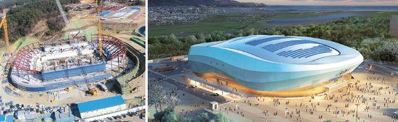 江原道江陵市(カンウォンド・カンヌンシ)に建設中のアイスアリーナ競技場(左側)と競技場の鳥瞰図。アイスアリーナ競技場ではフィギュア・ショートトラック競技が行われる。