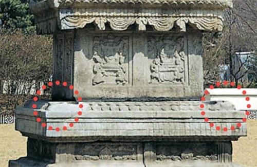 獅子像があった智光国師塔の基壇部(赤い円)。