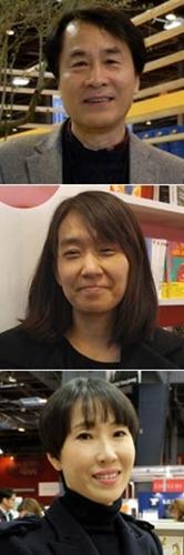 上から小説家のイ・スンウ、韓江(ハン・ガン)、チョン・ユジョン
