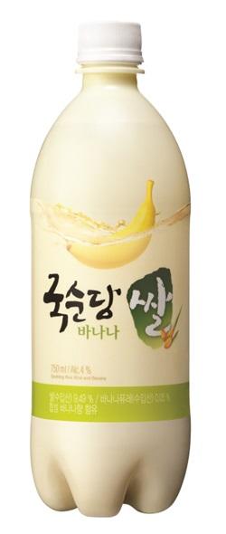 8日に韓国内で発売されるバナナマッコリ、麹醇堂の「米マッコリ バナナ味」。