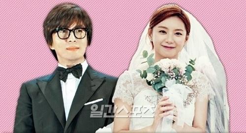 俳優のペ・ヨンジュン(左)と女優のパク・スジン夫妻