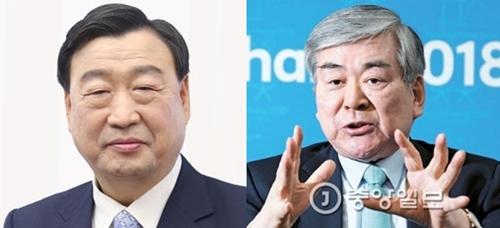 李熙範氏(左)と趙亮鎬韓進グループ会長(右、中央フォト)。趙亮会長は3日、平昌五輪組織委員長から退いた。