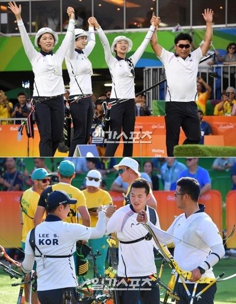 2016リオデジャネイロオリンピックのアーチェリーで、韓国が五輪史上初めて全種目(男女個人・団体の4種目)を独占するという金字塔を打ち建てた。上は女子団体、下は男子団体で勝利を喜ぶ韓国代表チーム。