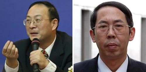 金燦栄・人民大国際関係学院副院長(左)、時殷弘・人民大国際関係学院教授(右)