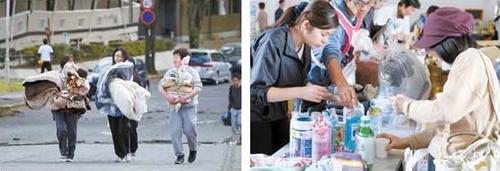 4月の熊本地震当時、大学生が毛布や食糧を持って臨時避難所へ向かっていた。右側の写真はボランティアメンバーが臨時避難所で活動している様子。(写真=中央フォト)