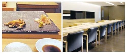 「SUSHI CHO」も「KOJIMA」のように日本から持ってきた樹齢350年のヒノキのバーカウンターが特徴的だ。だがバーカウンターに直接置くのではなく皿にのせて出す。写真左の皿にのっているのは自然産アワビ。