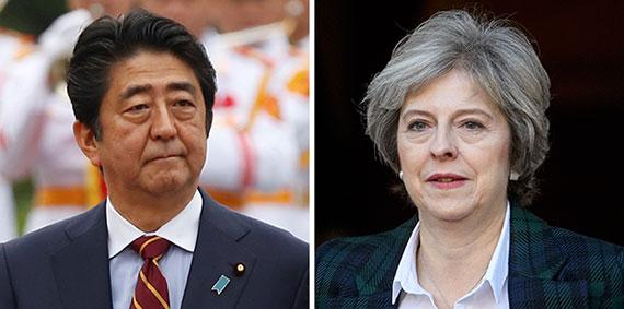安倍首相(左)、メイ英首相(右)