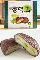 同じくロッテ製菓の「名家お餅パイ・緑茶」(12個入り、4,800ウォン)も、済州産の緑茶を使用。チョコレートでコーティングされた餅に緑茶クリームが入っており、もちもちの食感がたまりません。