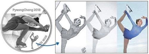 韓国選手ではなく、グレイシー・ゴールド(米国)の写真が使われている平昌五輪フィギュア記念コイン。(写真=韓国銀行)