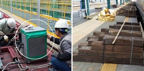 (左)ITX列車の漏電遮断機の役割を果たす主回路遮断機に作業員がガムテープを貼り付けている場面。(右)「ITX-青春列車」専用昇降台を作るためにリサイクルされた廃枕木。〔写真=読者提供(左)と全国鉄道労働組合(右)〕