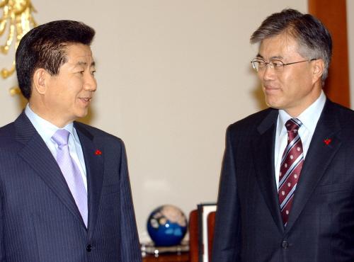 2003年当時の盧武鉉大統領(左)と民情首席秘書官時代の文在寅大統領(写真=中央フォト)