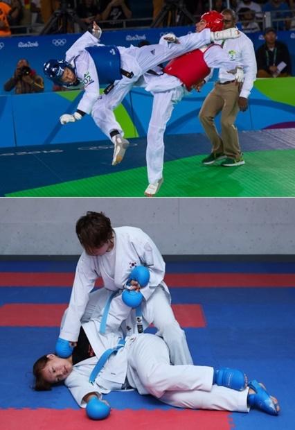 (上)リオ五輪期間中にテコンドーの看板スターであるイ・テフン(左)のプレー中の姿(写真=世界テコンドー連盟)。(下)空手女子国家代表アン・テウン(上)とイム・ミソンが空手の得点場面を試演している。