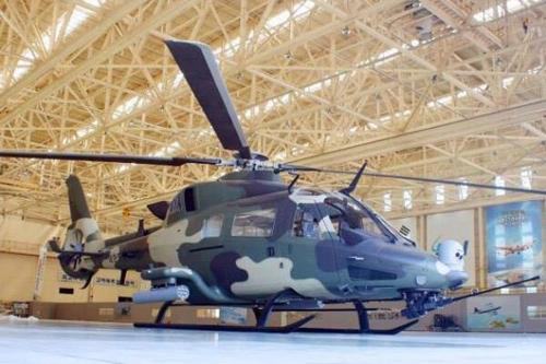韓国産小型武装ヘリコプター試作1号機の模型(写真提供=防衛事業庁)