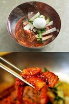ビビン冷麺は、水冷麺よりコシが強い麺をコチュジャンベースの辛口ダレと混ぜ合わせており、パンチの効いたピリ辛さが食欲をそそります。カレイなどの刺身をトッピングした刺身冷麺も絶品。