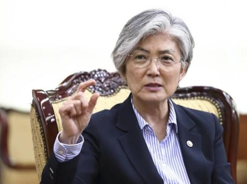 17日、ソウル外交部庁舎で中央日報のインタビューに答えている康京和外交部長官。