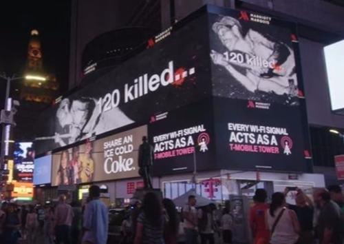 NYタイムズスクエアの電光掲示板に上映された「軍艦島の真実」広報映像。(写真=YouTubeキャプチャー)